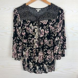 Cato Boho Floral Flare Sleeve Smocked Top